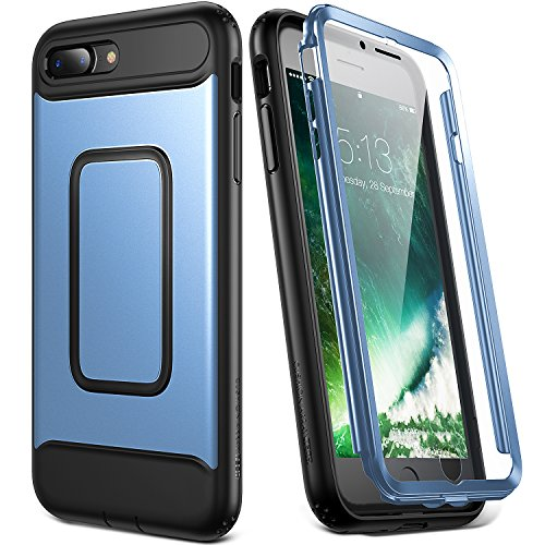 YOUMAKER Case for iPhone 8 Plus & iPhone 7 Plus, Full Body with Built-in Screen Protector Heavy Duty Protection Shockproof Slim Fit Cover for Apple iPhone 8 Plus (2017) 5.5 Inch - Blue