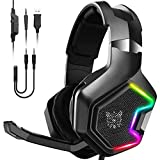 PC Gaming Headset Für PC, Over-Ear LED PS4 Headset - Kristall Stereo-Klang Gamer Kopfhörer PS4 Mit Sensiblen Mikrofon & Intensiven Bässen Für Laptop Mac Tablet