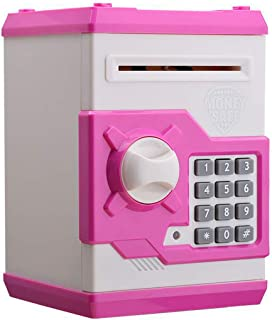 AblueA ATM Money Safe Box Cash Coin Saving Piggy Bank with Password Lock Toy Gift for Adults and Kids - Pink and White