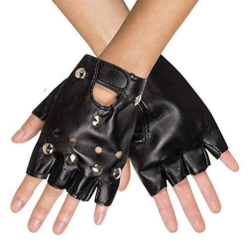 Kunstleder Handschuhe zum Punk, Rocker oder Biker Kostüm - Schwarz