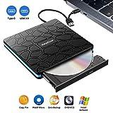 Unidad de CD DVD Externa, grabadora y Lector de CD-RW portátil con USB 3.0 y Tipo C,Alta Velocidad para computadora portátil, PC, Macbook Air/Pro, Mac OS, Windows 10/8/7 / XP y Linux (Balck)