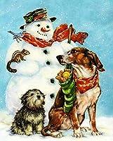 番号番号付けキットによるDIYペイント、雪だるまと子犬の番号付けキット、大人、子供、高齢者、初心者向けのブラシとアクリル絵の具