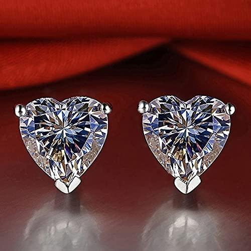 Heart Shaped Moissan Diamond Stud Earrings, Heart Cut Cubic Zirconia Tremella Needle Moissanite Heart Diamond Earrings Push Back, Sweet Heart Earrings for Women Girls, Wedding Birthday Gift (4X4mm)