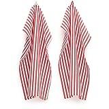 FILU Geschirrhandtücher 4er Pack Rot/Weiß gestreift (Farbe und Design wählbar) 45 x 70 cm -...