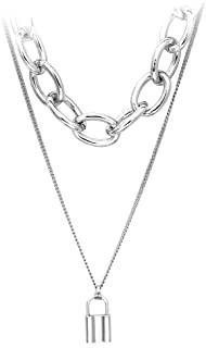 7th Moon Lock Pendant Necklace Statement Long Chain Punk Multilayer Choker Necklace for Women Girls (Multilayer Silver)
