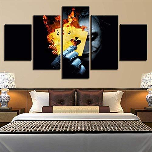 Refosian Print Painting Canvas, (Wooden Fra200X100Cm Canvas Painting Poster 5 Panel Movie Flame Playing Cards Imagen de personaje Decoración modular moderna Arte de la pared de la sala de estar -