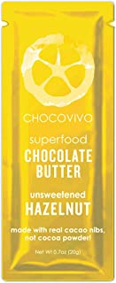 ChocoVivo Paleo Organic Dark Chocolate Hazlenut Unsweetened Butter, Paleo, Low Carb, No Sugar Added, No Soy, No Milk Powder, Made with Real Cacao Nibs. N (.7oz x 10 pack)