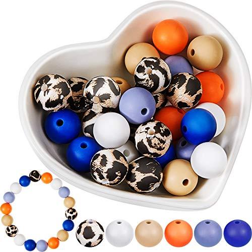 40 Piezas Cuentas de Silicona a Granel 12 mm Cuentas Sueltas de Colores Cuentas de Silicona de Leopardo Cuentas Espaciadoras Redondas para DIY Pulsera Collar Joyería Juguetes de Bebés