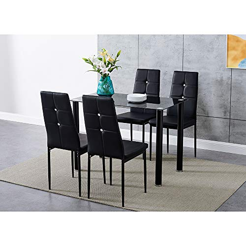 Panana GlassDining Table Set and 4 Soft Black Leather Chairs Seats Kitchen Home Set (105CM table & 4 Stunning Chairs)