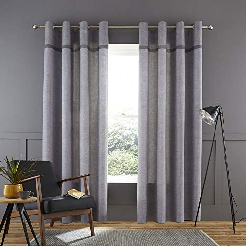 Catherine Lansfield Melville Woven Texture Ösenvorhang, Baumwolle, grau, Eyelet Curtains-46x54 Inch