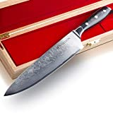 Stallion Cuchillo de Damasco Wave - Cuchillo de Chef 22 cm de Acero damasceno en una Elegante Caja de Regalo