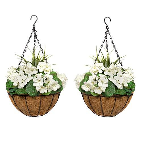 GreenBrokers 2X Artificial Round Coir Hanging Baskets with White Geraniums (Set of 2) 2 x künstliche Hängekörbe aus Kokosfaser mit weißen Geranien (2 Stück)
