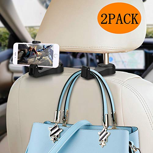 Car Headrest Hook with Phone Holder Normei 2 in 1 Auto Vehicle Back Seat Headrest Hanger Hooks for Purse Luggage Bags Cloth Grocery (2 Pack)