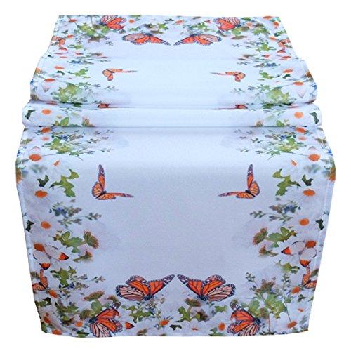Tafelloper 40 x 140 cm tafelkleed tafelkleed Pasen tafeldecoratie voorjaar wit bont bloemen en vlinders