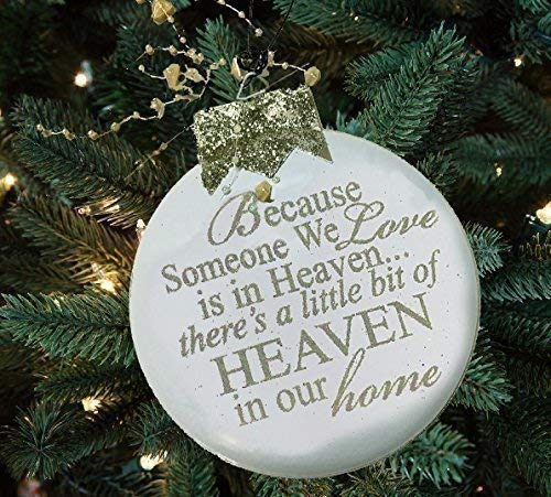 """ORNAMENT HEAVEN""""Because Someone we love is in Heaven, There's a little bit of heaven in our home"""" CREAM or RED Guardian angel Christmas Xmas Tree In Memory Bereavement Gift Silver White"""