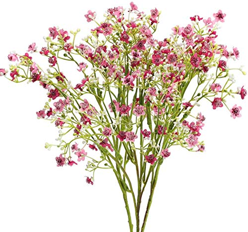 XHXSTORE Artificial Plastic Flowers Decoration Gypsophila Bouquets Fake Plants Decoration for Outdoor Indoor Wedding Party DIY Home Faux Plastic Red Flower for Table Bedroom Office Shop Garden 3Pcs