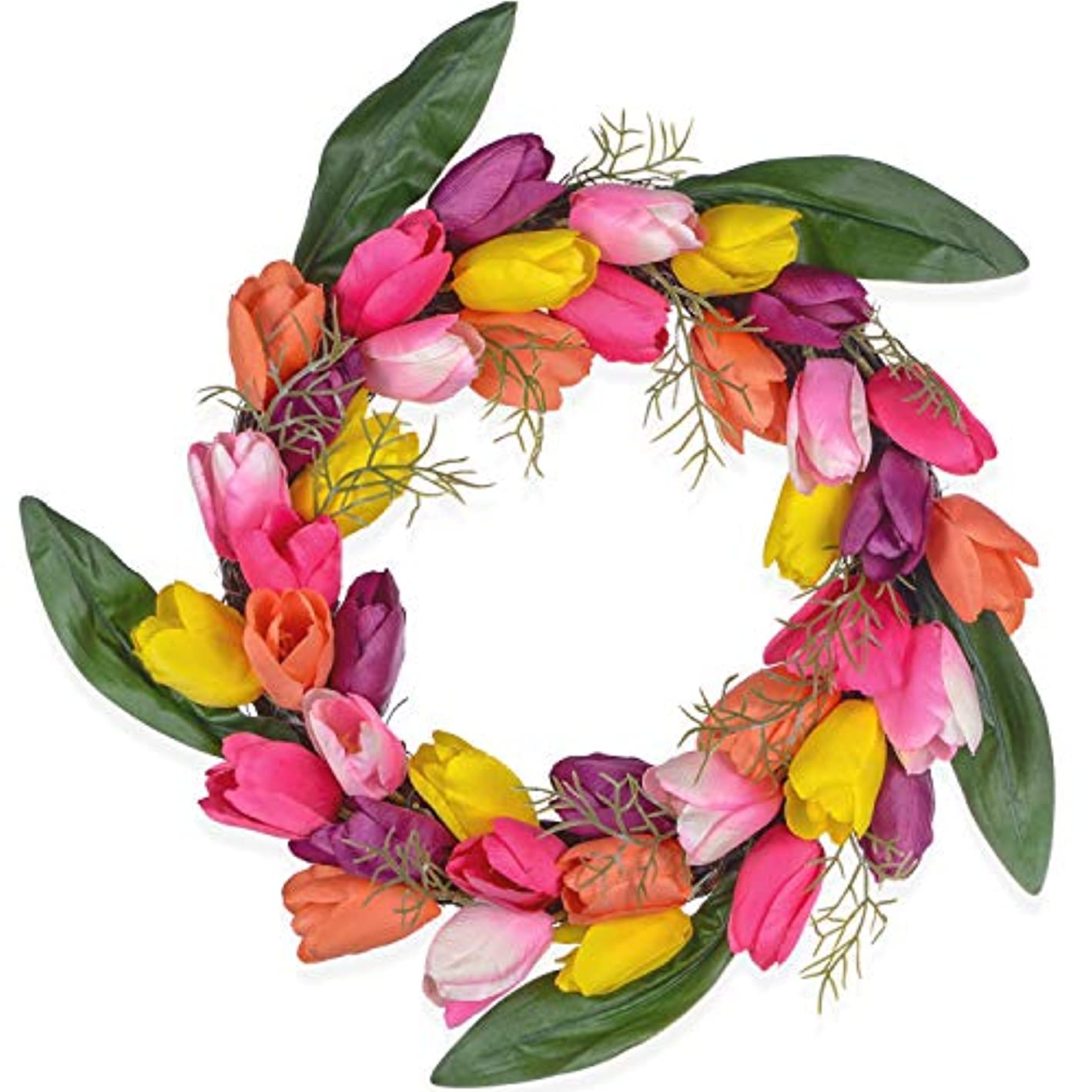 DearHouse Artificial Tulip Flower Wreath, 13 Inch Colorful Silk Tulips Front Door Wreath with Green Leaves Decor for Home Wall Wedding
