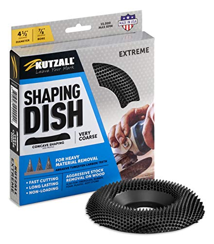 """Kutzall Extreme Shaping Dish - Very Coarse, 4-1/2"""" (114.3mm) Dia. X 7/8"""" (22.2mm) Bore - Woodworking Angle Grinder Attachment for DeWalt, Bosch, Milwaukee, Makita. Abrasive Tungsten Carbide, DW412X120"""