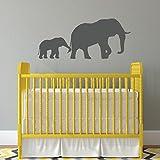 Wandtattoo Elefant mit Baby-Elefant, 24'x10.5'