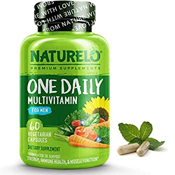 NATURELO One Daily Multivitamin for Men - with Vitamins & Minerals + Organic Whole Foods - Supplement to Boost Energy General Health - Non-GMO - 60 Capsules | 2 Month Supply