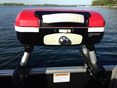 Cuisinart Grill Red Modified for Pontoon Boat with Arnall's Stainless Universal Grill Bracket Set - Great for Closed Fencing