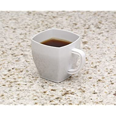 Zappy Square 2 Oz Mini Coffee Espresso Cappuccino Mugs 24 Ct Small Dessert Shot Glasses Party Wedding Cups Disposable Plastic Mug (White)