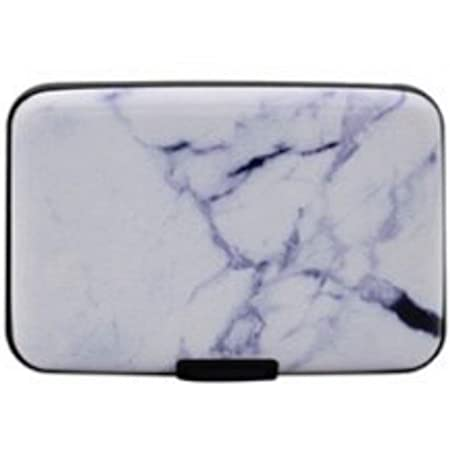 Ladies Card Holder Marble Look RFID Blocking Anti Scan Aluminium Hard Case Security Wallet Card Holder Hard Case for Credit Debit Driving License Oyster Business Cards Bank Notes (White Marble)