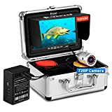 Eyoyo Underwater Fishing Camera, Ice Fishing Camera Portable Video Fish Finder, Upgraded 720P Camera w/ 12 IR Lights, 1024x600 IPS 7 inch Screen, for Ice, Lake, Boat, Sea Fishing (30m+DVR)