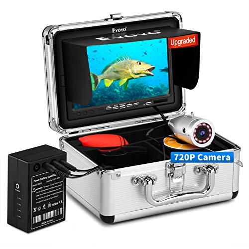 Eyoyo Underwater Fishing Camera, Ice Fishing Camera Portable Video Fish Finder, Upgraded 720P Camera w  12 IR Lights, 1024x600 IPS 7 inch Screen, for Ice, Lake, Boat, Sea Fishing (30m+DVR)