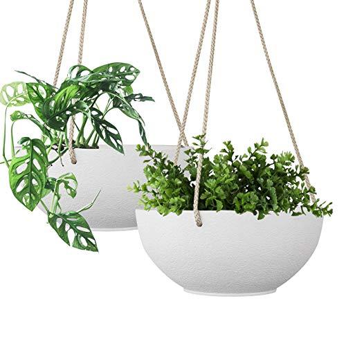 Macetero Colgante - Macetas Ceramica, maceteros Interior y Exterior, Jardineras con Cuerda de Yute, 20.5cm, Blanco, Set 2