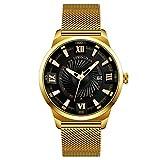 Quartz Watch, Men Watch Simple Fashion Luxury Wrist for Men Ultra Thin Business Dress Casual Waterproof Quartz Wrist Watch with Stainless Steel Mesh Band