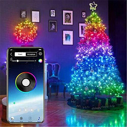 Christmas Tree Decoration Lights Custom LED String Lights App Remote Control, Fairy Lights USB Plug in Led String Lights,Smart LED Strip Lights (10M 100LED)