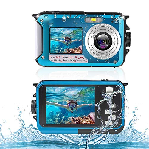 Unterwasserkamera Digitale Wasserdichte 2,7K 24MP HD Wiederaufladbare Kamera 16X Digitalzoom Digitalkamera mit Wasserdichter Selfie Dual Screen Kamera