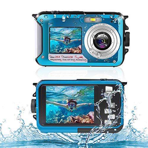 Unterwasserkamera Digitale Wasserdichte 2,7K 24MP HD Wiederaufladbare Kamera 16X Digitalzoom Digitalkamera mit Wasserdichter Selfie Dual Screen Kamera