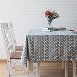 Meioro Manteles Mantel Rectangular Cubierta de Mesa de Lino de algodón Manteles de Sarga Simples Adecuado para la decoración de cocinas caseras, Varios tamaños(Gris,130×180cm)