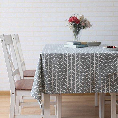 Meiwash - Manteles impermeables de lino - Fáciles de limpiar - Estilo sencillo - Manteles de sarga Multiusos - Para interior y exterior, Poliéster. Lino algodón, Gris, 130*180