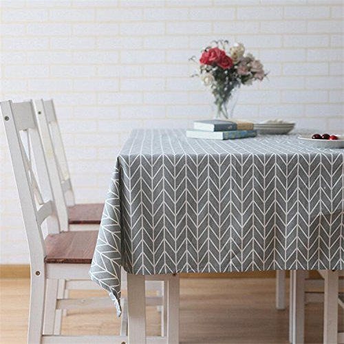 meioro Tischdecke Rechteckige Tischdecken Baumwolle Leinen Einfaches Twill Tischwäsche Geeignet für Home Dekoration Tischtuch (140 x 220 cm, Grau)
