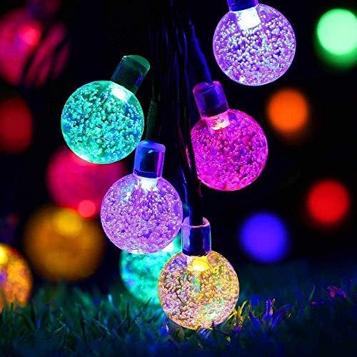 ZWOOS Guirnalda Luces Exterior Solare, 7m 50 LED Luces de Cadena de Bola de Cristal Impermeable con 8 Modos para Navidad, Jardín, Patio (vistoso)