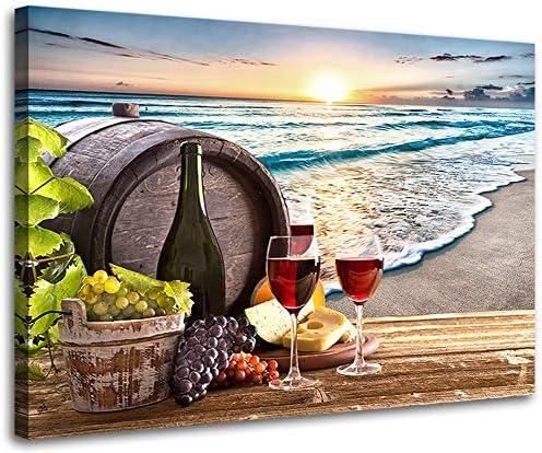 Wine Decor for Kitchen Beach Decor Wine Glass Canvas Prints Artwork Wine Barrel Wall Art for product image