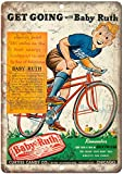 JOHUA Cartel de metal con texto en inglés 'Baby Ruth', de Dextrosa Sugar Candy
