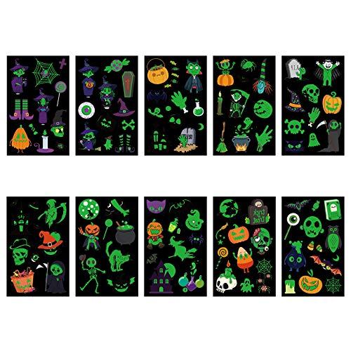 TAZEMAT Halloween Tatuaje Luminoso 20 Hojas Pegatina Temporal Fluorescente Etiqueta Engomada de Cuerpo y Cara Fantasma Murciélago Calabaza Bruja Suministro Maquillaje para Niños Fiesta Cumpleaños