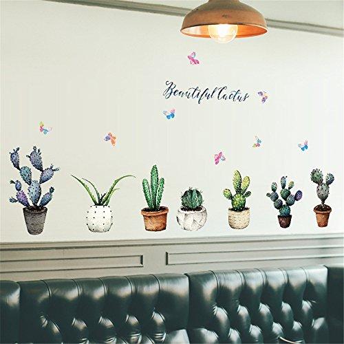 Moent DIY Cactus Abnehmbare Wandtattoo Family Home Sticker Wandkunst Home Decor, Kaktus Topf Pflanze Schrank Fensterbank Wohnzimmer Eingang Schlafzimmer TV Hintergrund Wanddekoration Wa
