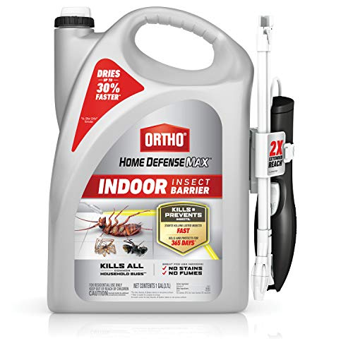 Ortho Home Defense Max Indoor Insect Barrier: With Extended Reach Comfort Wand, Pest Control, No Stains, Starts to Kill Ants, Roaches, Spiders, Fleas and Ticks Fast, 1 gal