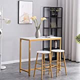 Bar Table Set with 2 Bar Stools, LTUIKHQ Dining Table Set 3 Piece, PVC...