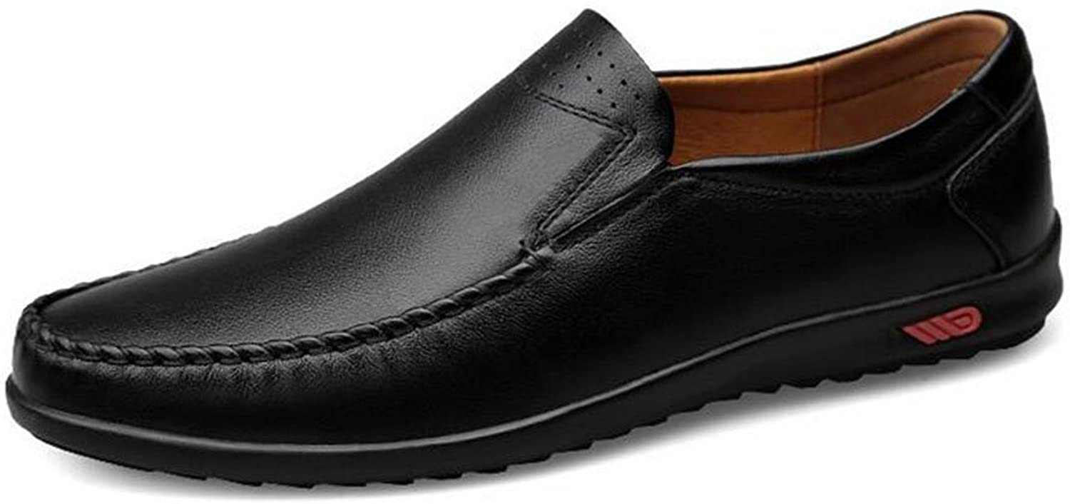 HUAN Men's Casual Leather shoes Flat Loafers Fashion Slip On Driving shoes Formal Business Work Black