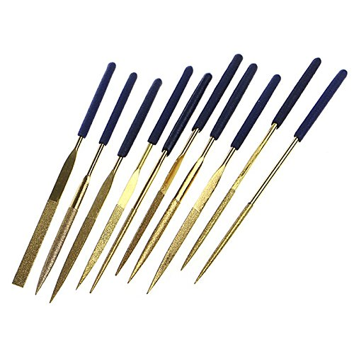 Chris.W 10Pcs Assorted Titanium-Coated Diamond Needle File Set 3x140mm Grit-120 for Metal Glass Ceramic Jewelry Carving