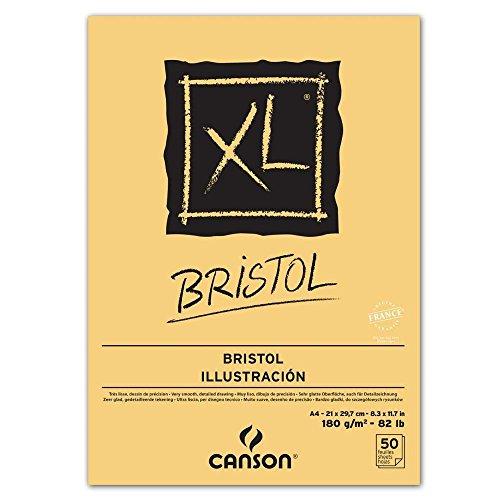 Canson Skizzenblock und Studienblock XL Bristol, Block DIN A4, 50 Blatt oben geleimt, sehr glatt, extra weiß, geeignet für Bleistift, Tusche, Airbrush, Skizzen und Zeichnungen