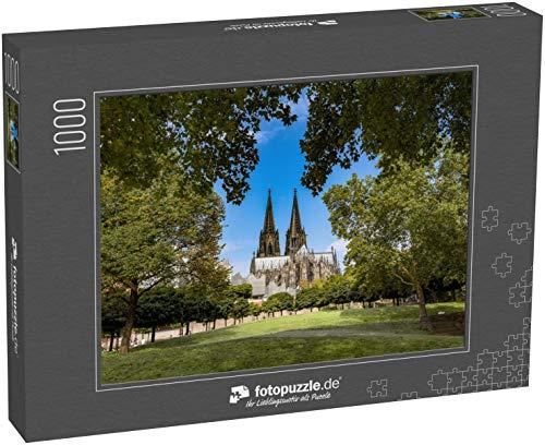 Puzzle 1000 Teile Kölner Dom mit Bäumen im Vordergrund - Klassische Puzzle, 1000 / 200 / 2000 Teile, edle Motiv-Schachtel, Fotopuzzle-Kollektion 'Kirche'