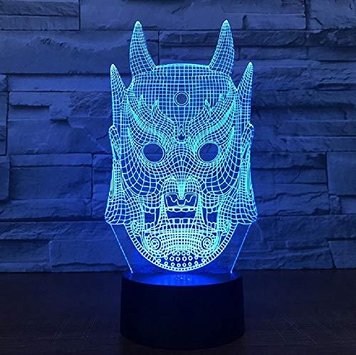 Ghost Mask 3D Lamp Colorful Gradient Atmosphere Table Lamp Dormitorio Infantil Decoración Para El Hogar Iluminación Led Night Light Gift,Control De Color A Través De Bluetooth