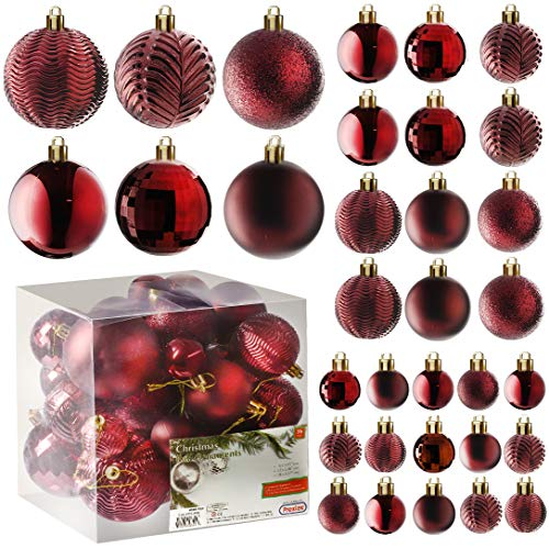 Prextex Red Christmas Ball Ornaments for Christams Decorations - 36 Pieces Xmas Tree Shatterproof Ornaments with Hanging Loop for Holiday and Party Deocation (Combo of 6 Styles in 3 Sizes)